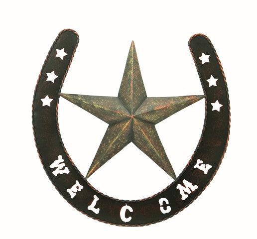 (RWRT5053) Western Metal Welcome Sign with Star and Horseshoe - 19