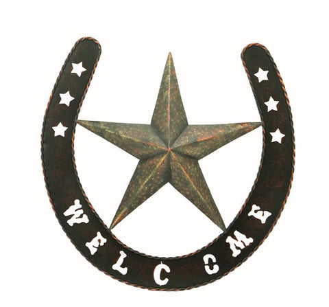 "(RWRT5053) Western Metal Welcome Sign with Star and Horseshoe - 19"" Diameter"