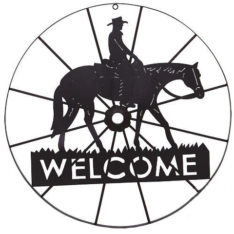 Western Welcome Cowboy Wagon Wheel Wall Art