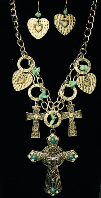 (RWSA12365) Western Silver & Turquoise Triple Cross Necklace and Earrings