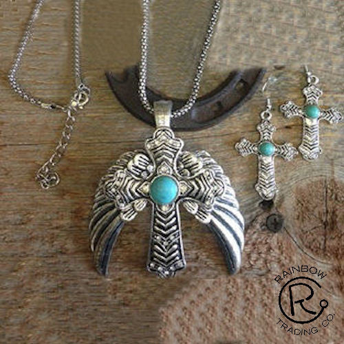 (RWSA12382) Western Silver & Turquoise Winged Cross Necklace and Earrings