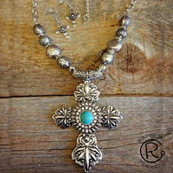 (RWSA12525) Western Silver & Turquoise Cross Necklace and Matching Earrings