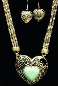 (RWSA12531) Western Turquoise & Silver Heart Necklace with Matching Earrings