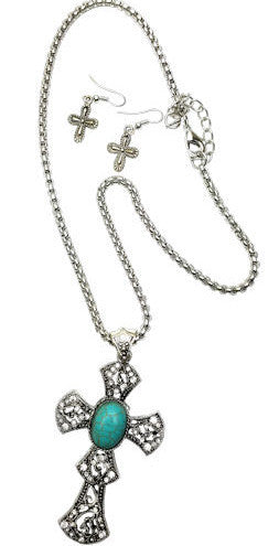 (RWSA15588) Western Silver & Turquoise Cross Necklace and Earrings