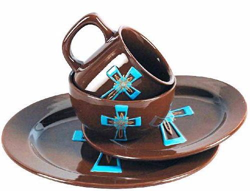 (RWSA9126) Western Turquoise Cross u0026 Chocolate 16-Piece Dinnerware Set  sc 1 st  Wild West Living & western dinnerware u2013 Wild West Living