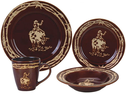 "(RWSA9164) ""Bullrider"" Western 16-Piece Porcelain Dinnerware Set - Chocolate"