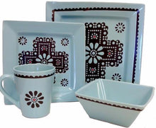 Load image into Gallery viewer, (RWSA9167) Turquoise Cross Western 16-Piece  Dinnerware Set