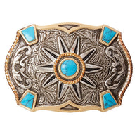 Western Rowel Silver & Gold Belt Buckle with Turquoise Stones