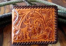 Load image into Gallery viewer, Western Natural Tooled Leather Bi-Fold Wallet