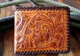Western Natural Tooled Leather Bi-Fold Wallet
