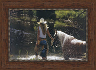 "(SC7263PF) ""Cowgirl and Horse"" Western Textured Canvas-Like Framed Print"