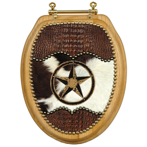 (SCS-PREJ4) Premium Cowboy Cowhide & Embossed Leather Star Toilet Seat