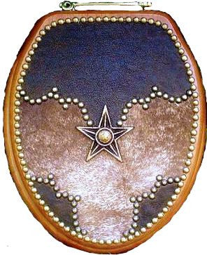 (SCS-VWPR88) Western Decor Leather & Cowhide Toilet Seat with Star