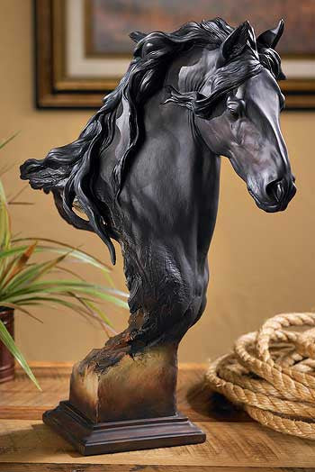 Fresian Horse Bust Sculpture - Large