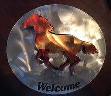 "Load image into Gallery viewer, (SI-WS36C) Western ""Welcome"" Metal Art with Running Horse"