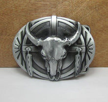 Load image into Gallery viewer, Cow Skull Metal Belt Buckle