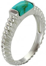 Load image into Gallery viewer, Sterling Lane Turquoise Rope Ring
