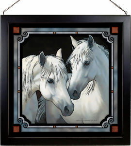 """Stable Mates"" Horse Stained Glass Art"