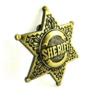 Sheriff Star Metal Belt Buckle