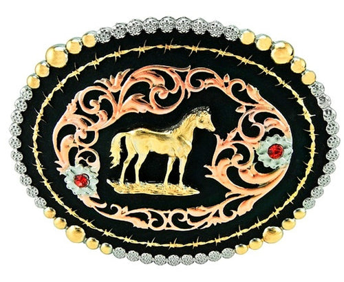 (TBB2000SH) Western Tri-Color Oval Belt Buckle - Standing Horse