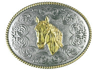(TBB3000HH) Western Silver & Gold Oval Belt Buckle - Horse Head
