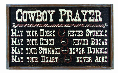 """Cowboy Prayer"" Western Wood Sign"