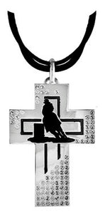 "(TBNC1035BL) ""Barrel Racer"" Silver & Black Cross Necklace"