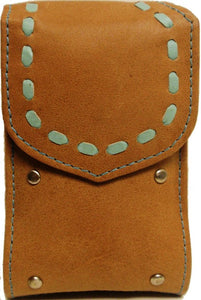 (TD0657051C) Western Light Tan Leather Cell Phone Holder with Green Weaving (For Flip Phones)