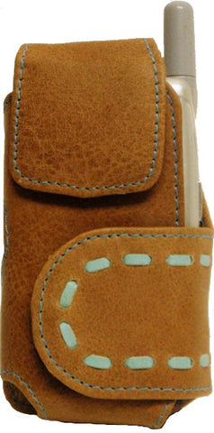 (TD0657052C) Western Leather Tan Cell Phone Holde for Flip Phones