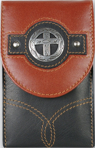 (TD0812055C6) Western Leather Cell Phone Holder with Cross for Blackberry