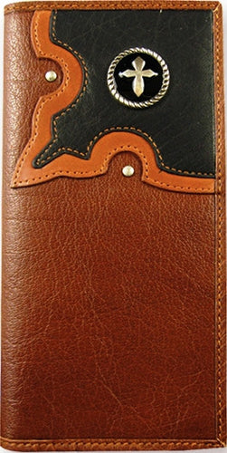 (TD0886137W2) Western Leather Rodeo Wallet/Checkbook Holder with Cross Concho by Western Trenditions