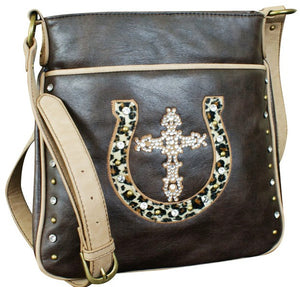 "(TD1002234) ""Lucky Leopard"" Western Faux Leather Cross Body Bag by Cowgirl Up"