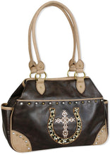 "Load image into Gallery viewer, (TD1002244) ""Lucky Leopard"" Western Faux Leather Satchel with Cross & Horseshoe by Cowgirl Up"