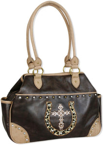 "(TD1002244) ""Lucky Leopard"" Western Faux Leather Satchel with Cross & Horseshoe by Cowgirl Up"