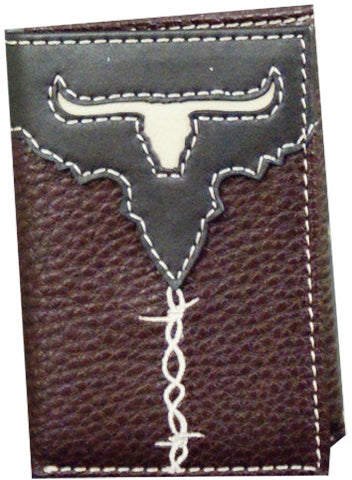 "(TD1205322W1) ""Cowboy Up Longhorn"" 2-Tone Brown Tri-Fold Wallet"