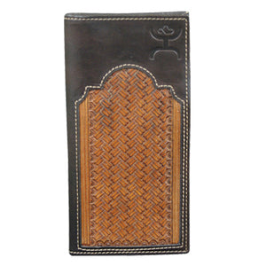 "(TD1473137W4) ""Hooey"" Signature Natural Basketweave/Brown Leather Rodeo Wallet"