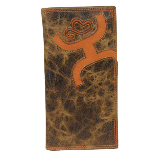 (TD1564137W6) Hooey Signature Rodeo Wallet with Brown Leather and Orange Logo