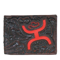 (TD1564161W1) Hooey Signature Brown Tooled Bi-Fold Wallet with Red Logo