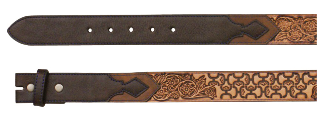 (TD1654BE4) Hooey Men's Belt with Scrolling in Cognac with Dark Brown Wash