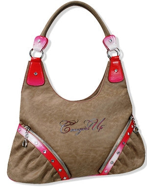 "(TD937207P) ""Cowgirl Up"" Western Pink Hobo Purse"