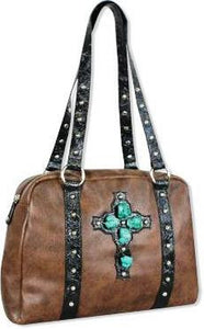 "(TD970269) ""Rock 47"" Western Satchel with Turquoise Stone Cross"