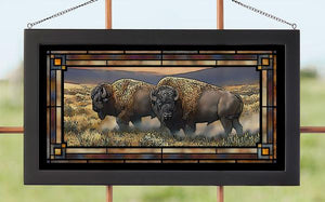 """Dusty Plains"" Bison Stained Glass Art"