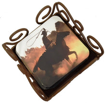 "Load image into Gallery viewer, (THS-JCCST) ""Roping Cowboy"" Coasters - Set of 6"