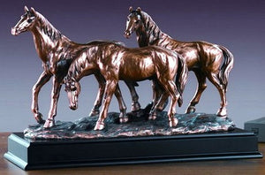 "(TN53165) Western Three Horse Sculpture - 10"" Tall"