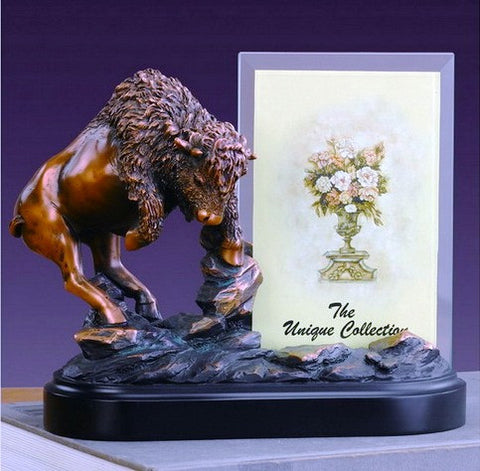 (TN53209) Charging Buffalo Sculpture/Picture Frame