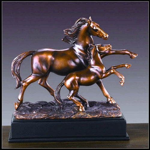 (TN53213) Western Mare & Foal Sculpture