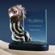 (TN91164) Patriotic Eagle with American Flag Award Sculpture