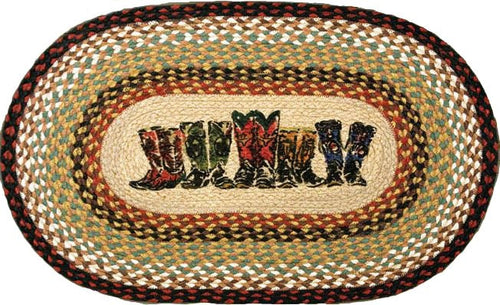 (ER65-019B) Cowboy Boots Jute Oval Accent Rug