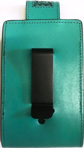 "Western Hand Tooled Leather Cell Phone Holder Turquoise - Holds Up to 6"" Tall"