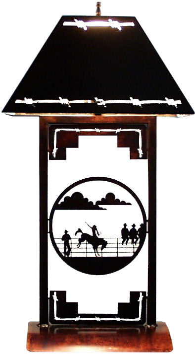 (TS041-234) Western Table Lamp - Rodeo Scene